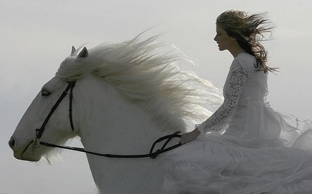 girl and horse - girl, horse, white