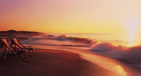 beach chairs at sunset Beaches Nature Background Wallpapers on