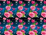 pretty pink roses on blue background
