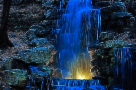 Blue Fall - water, falls, beautiful, rocks, blue, bright, nature