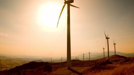 brilliant sun over windmills  - windmills, hills, sunshine, turbines