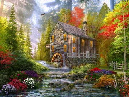Beautiful Mill And Water Wheel Other Amp Nature Background