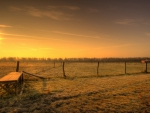 sunrise over fenced pastures hdr
