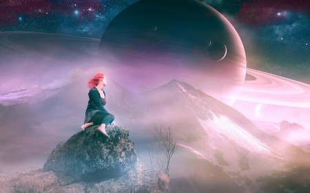 *** Dreams of the Moon *** - space, dreams, moons, girl