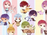 anime kuroko no basket with pokemon in chibi