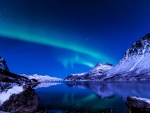 northern lights over a blue lake on a blue night