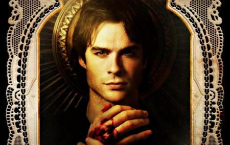 Damon - vampire diaries, damon, hand, black, ian somerhalder, actor, man, blood, white, tv series, fantasy