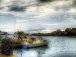 commercial fishing boats at the docks hdr