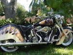 beautifully painted vintage indian motorcycle