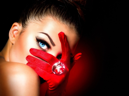 Model - blue eyes, ring, eyes, model, photo, hair, eyelashes, red gloves