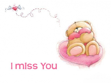 I Miss You - Love, Heart, Pink, Bear