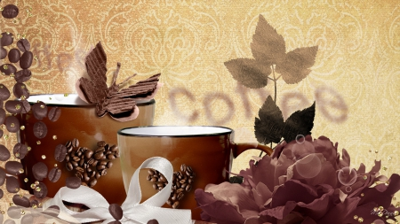 Coffee with a Friend - flowers, beans, cups, cafe, coffee, collage, brown, ribbon, java, joe, leaves, butterfly