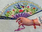 ~Victorian Fan in Hand ~ Bird and Flowers