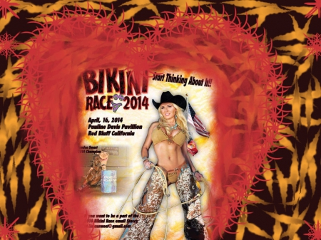 Cowgirl Bikini Race - fun, bikini, chaps, hats, blondes, female, boots, models, cowgirls