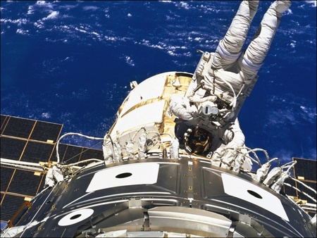 Out For A Spacewalk - space, earth, nasa, space station, cosmonaut, spacewalk, astronaut