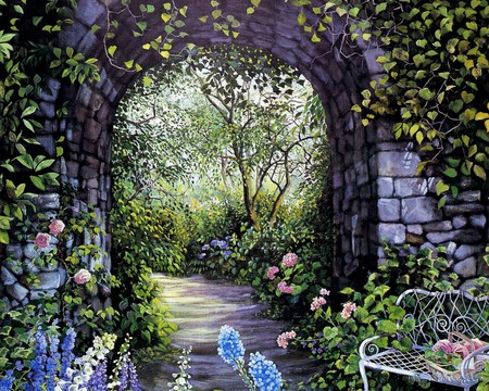 AFTERNOON WALK 1 - flowers, garden, arch, painting, art, entrance, bench