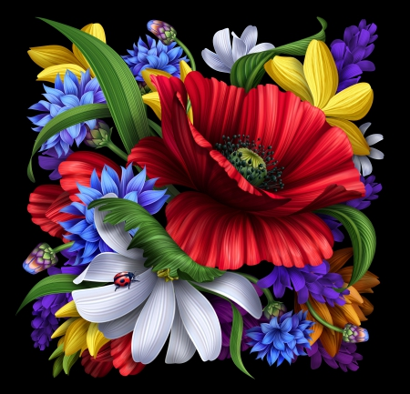 Painted flowers other abstract background wallpapers for Bright flower painting