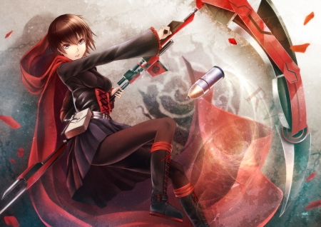 Ruby Rose - emotional, black, sexy, magic, anime, female, rwby, girl, abullet, weapon, anime girl, serious, hot, red, ruby rose