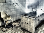 dirty tiled shower and bathtub hdr