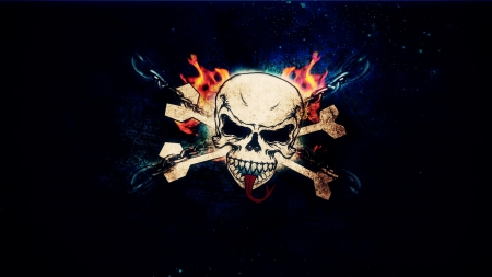 SKULL AND CROSSBONES - DARK, SKULL, FIRE, CROSSBONES