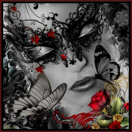 BLACK BUTTERFLY - ROSE, FACE, BLACK, FEMALE, BUTTERFLIES, RED, MASK