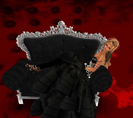 Lady in Black - fantasy, chair, abstract, black, lady