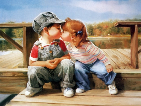 FIRST KISS - boy, first, art, wall, girl, fool, sitting, love, picture, kiss, cute, paiting, kisses, wallpaper, children, image, kids, pic, kissing