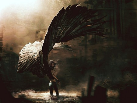 GOTHIC WINGED ANGEL - huge, wings, angel, abstract, art, sadness, gothic, wing, fallen, fantasy, sad