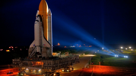 the shuttle discovery moving to launch pad - pad, shuttle, night, lights, tractor