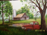 Painting of an old barn with an old pickup truck