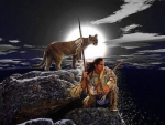 Indian with Cougar_Totem
