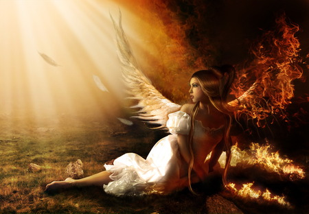 Prayers Are Answered - angel, abstract, surreal, magic, illusion, tale, light, woman, fairy, 3d, fire, fantasy, daydreamer, dreamy