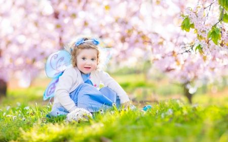 Pretty Girl - cute, nature, girl, trees, bokeh, princess, grass, flowers, green, spring, spring time