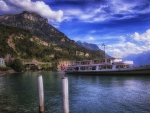 cruise ship on a beautiful swiss lake hdr