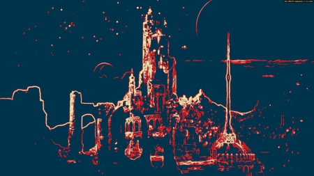 Abstract City - City, Sci Fi, Abstract, Planet, Moon