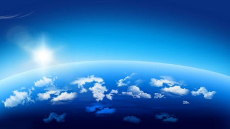 ~*~ Earth In Digital Art ~*~ - space, earth, clouds, blue sky, sun, sky