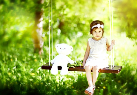 Sweetness - teddy bear, child, sweet, tree, face, nature, girl, bokeh, princess, grass, adorable, splendor, green
