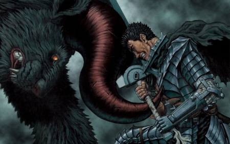 Guts Vs Zodd - Berserk, Nosferatu Zodd, Metal Arm, The Immortal, Horns, Apostle, Manga, Guts, Anime