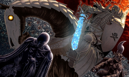Femto Vs Skull Knight - God Hand, Demon, Berserk, Griffith, Manga, Anime, Skull Knight, Nosferatu Zodd, Apostle, Femto, Horse, Angel