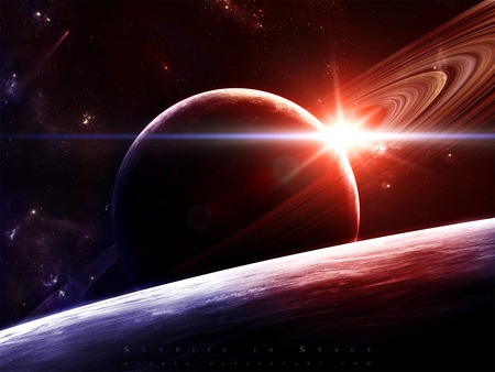 Sunrise in Space - sunrise, universe, space, planets, gucken, jeff, planet, michelmann