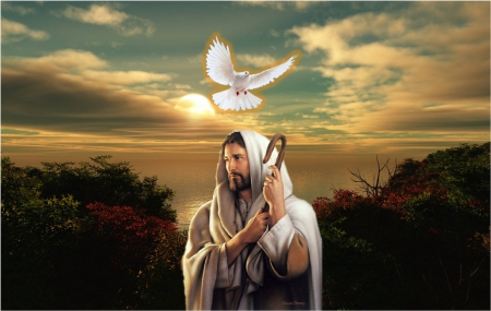 jesus and the holy spirit collages amp abstract background