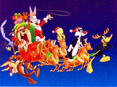 Looney Tunes Christmas - bugs bunny, tweety bird, presents, tasmanian devil, christmas, daffy duck, reindeer, sleigh, sylvester
