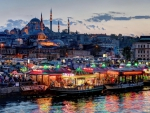 istanbul turkey waterfront at dusk hdr