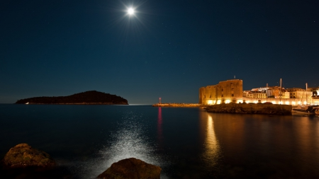 moonlight over dubrovnik seaside - moon, light, sea, night, city, stars, coast