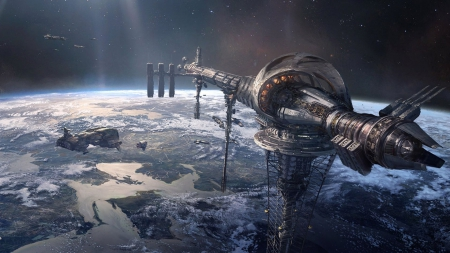 Concept Spaceship Station Art - space, Concept, station, planet, ship