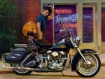 Elvis admiring His Harley