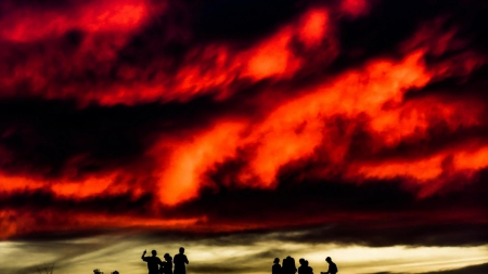 silhouettes of children under a fiery sky hdr - red, clouds, silhouettes, children, fiery, sky, hdr