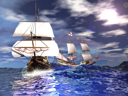 Tall ship on the High seas - water, boat, sail, pretty water, ocean