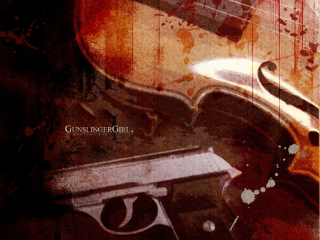 Deadly Violin - gun, violin, anime, pistol, gunslinger girl