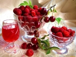 Raspberry juice and fruits